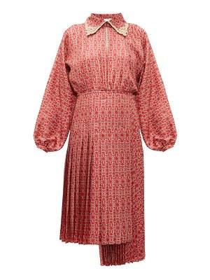 Fendi gate print pleated silk midi dress