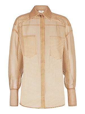 Fendi gingham silk organza shirt