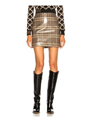 Fendi Glazed Prince of Wales Plaid Mini Skirt