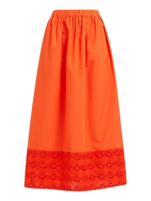 Fendi high rise broderie anglaise cotton midi skirt