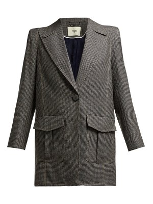 Fendi houndstooth virgin wool blend blazer