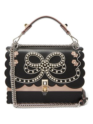 Fendi kan i bow embroidery leather shoulder bag