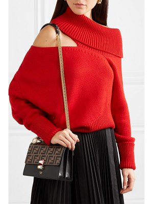 Fendi kan i small embossed leather shoulder bag