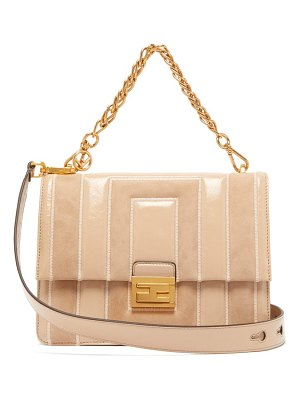 Fendi kan u medium leather and suede cross-body bag