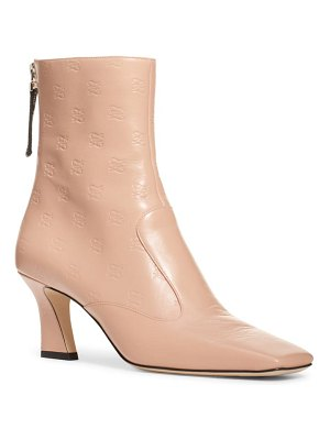 Fendi karligraphy embossed logo square toe bootie