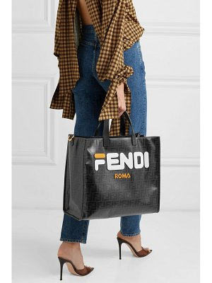 Fendi leather-appliquéd coated-canvas tote
