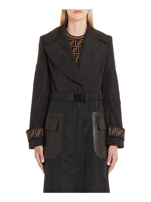 Fendi leather pocket trench coat
