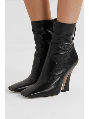 Fendi logo-embossed leather ankle boots