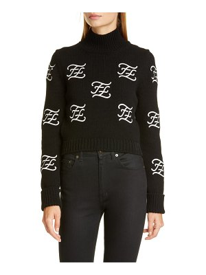 Fendi logo embroidered crop wool & cashmere sweater
