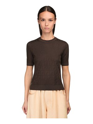 Fendi Logo intarsia cotton blend knit top