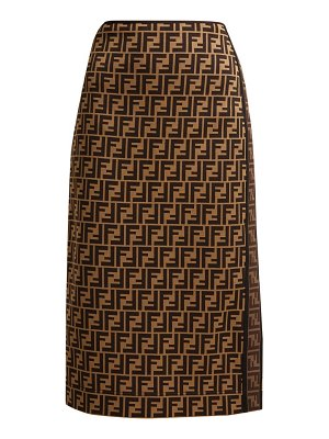 Fendi Logo Jacquard Stretch Pencil Skirt
