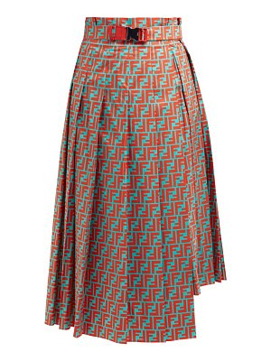 Fendi logo print asymmetric pleated cotton midi skirt