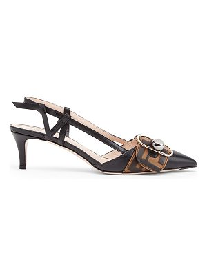 Fendi Logo Print Slingback Leather Kitten Heels