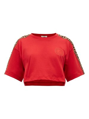 Fendi logo trimmed cropped cotton t shirt