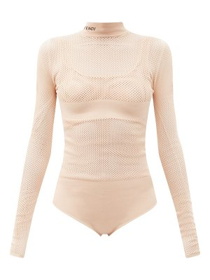 Fendi long-sleeve jersey-mesh bodysuit and bra set