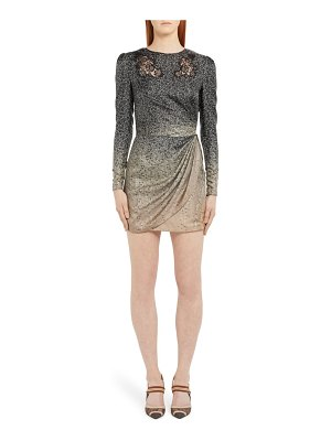 Fendi long sleeve lace inset degrade silk minidress