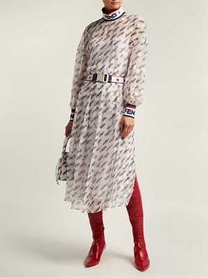 Fendi mania logo print silk blend georgette dress
