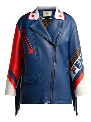 Fendi mania logo trimmed leather biker jacket