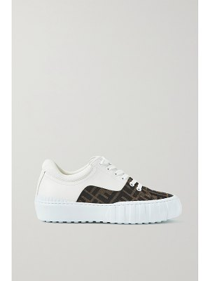 Fendi mesh-trimmed logo-jacquard canvas and leather sneakers
