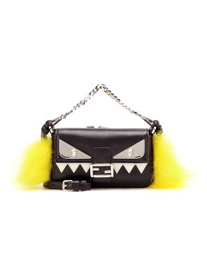 Fendi Micro Baguette fur-trimmed leather shoulder bag