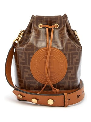 Fendi mon tresor ff-jacquard leather bucket bag