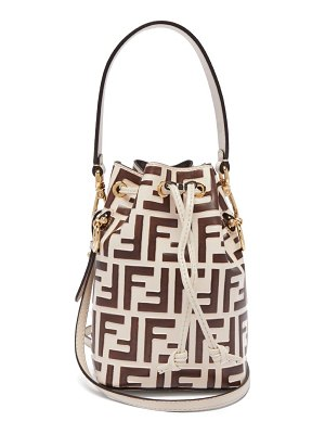 Fendi mon tresor mini ff embossed leather bucket bag