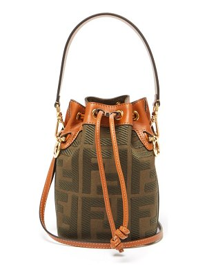 Fendi mon tresor mini logo-jacquard canvas bucket bag