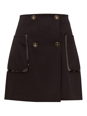 Fendi monogram button wool twill mini skirt
