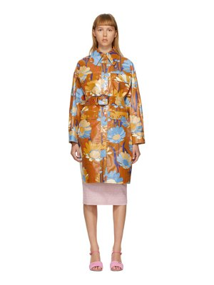Fendi multicolor coated cotton daisy garden coat