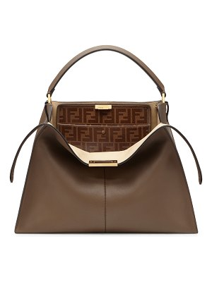 Fendi Peekaboo X-Lite Soft Calf Satchel Bag with FF Interior