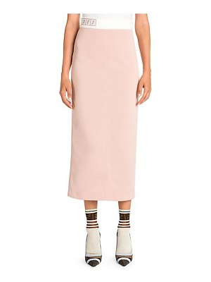 Fendi pique jersey logo knit pencil skirt