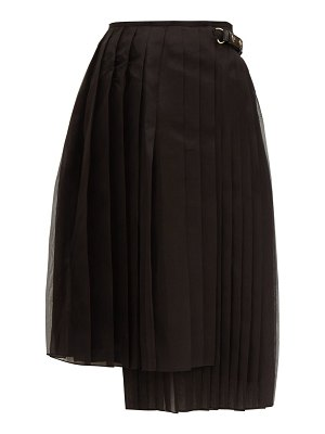 Fendi pleated silk organza midi skirt
