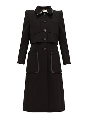 Fendi pvc trim single breasted wool twill coat