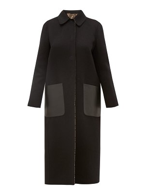Fendi reversible ff print wool blend coat