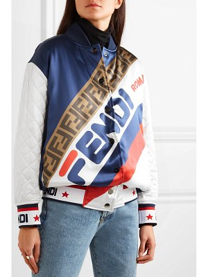 Fendi reversible quilted printed silk-satin bomber jacket