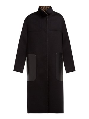 Fendi reversible single breasted wool blend coat