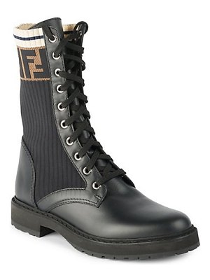 Fendi rockoko knit leather combat boots