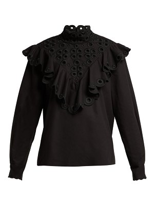 Fendi ruffle broderie anglaise cotton blouse