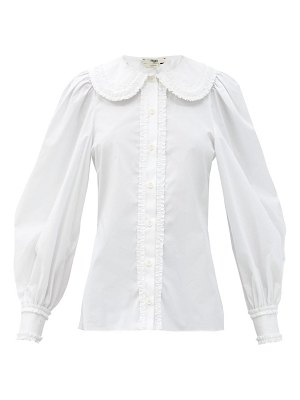 Fendi ruffled round-collar cotton-poplin blouse