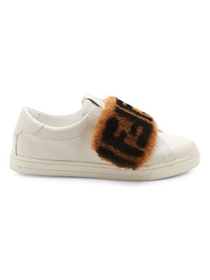 Fendi shearling ff logo leather sneakers