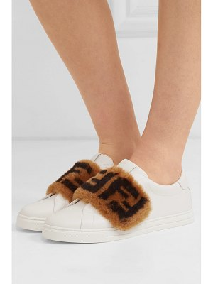 Fendi shearling-trimmed leather sneakers