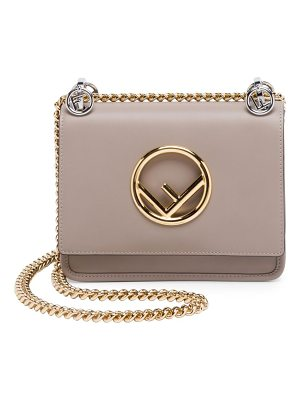 Fendi small kan i f leather shoulder bag