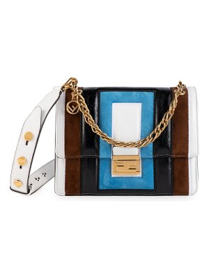 Fendi small kan u embossed leather shoulder bag