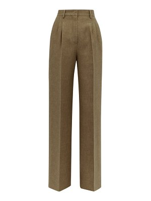 Fendi straight leg side stripe wool & silk trousers