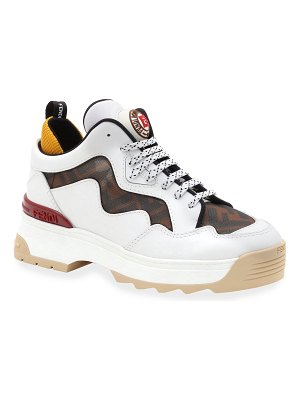 Fendi T-Rex FF Mesh and Leather Sneakers