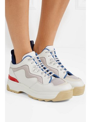 Fendi t-rex mesh and rubber-trimmed leather sneakers