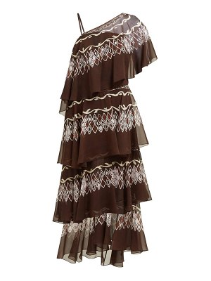 Fendi tiered diamond print silk gown