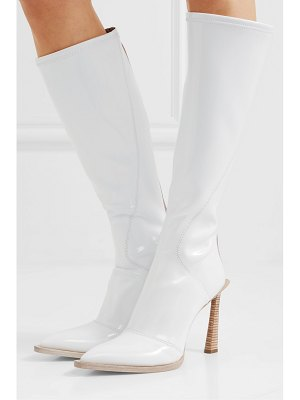 Fendi two-tone glossed-neoprene knee boots