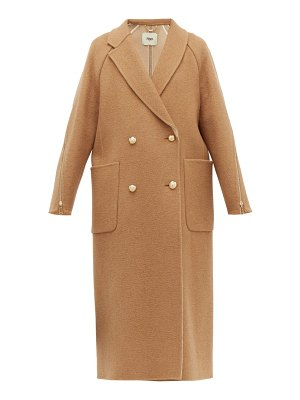 Fendi zip panel camel hair coat