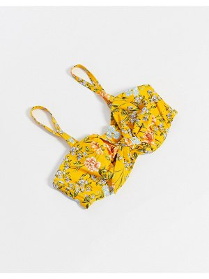 Figleaves fuller bust underwired bandeau tie front bikini top in yellow floral print